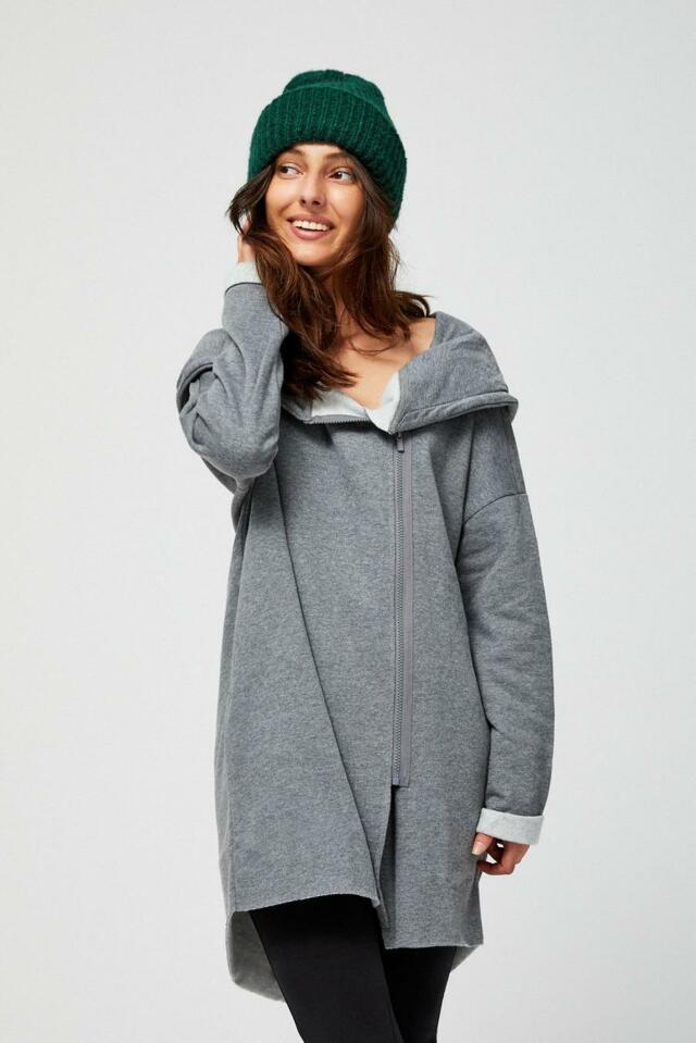 Moodo Mikina dámská s kapucí na zip dlouhá - S