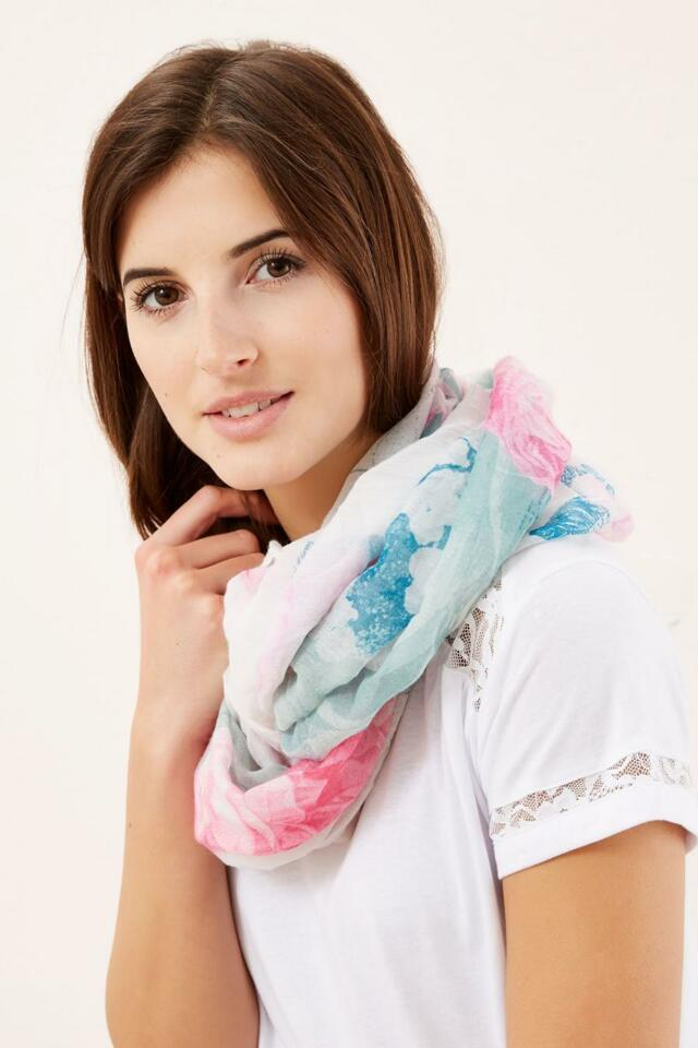 Moodo šátek dámský komín bílo růžový