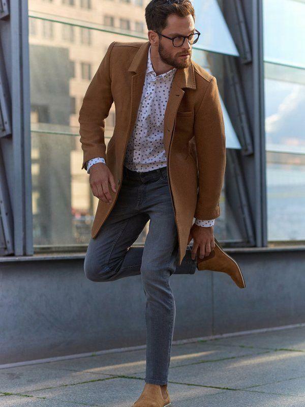 Top Secret Kabát pánský vlněný velbloudí odstín - XL