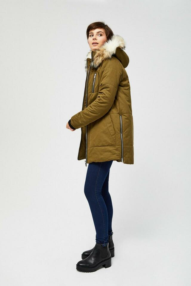 Moodo Bunda dámská s kožíškovou kapucí - S