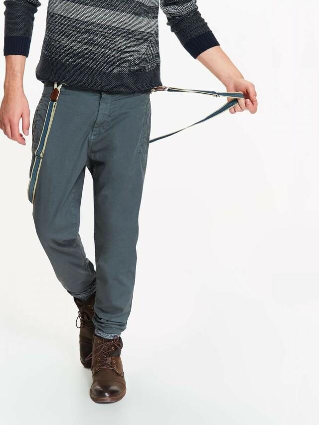 Top Secret Kalhoty pánské šedé s kšandama