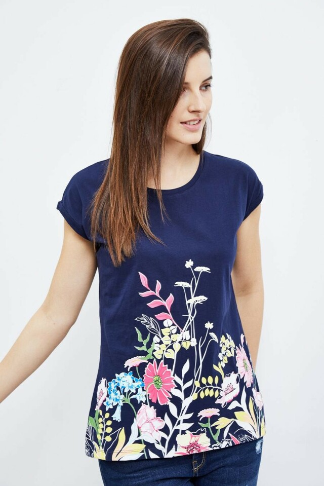 Moodo Triko dámské s květinami a krátkým rukávem