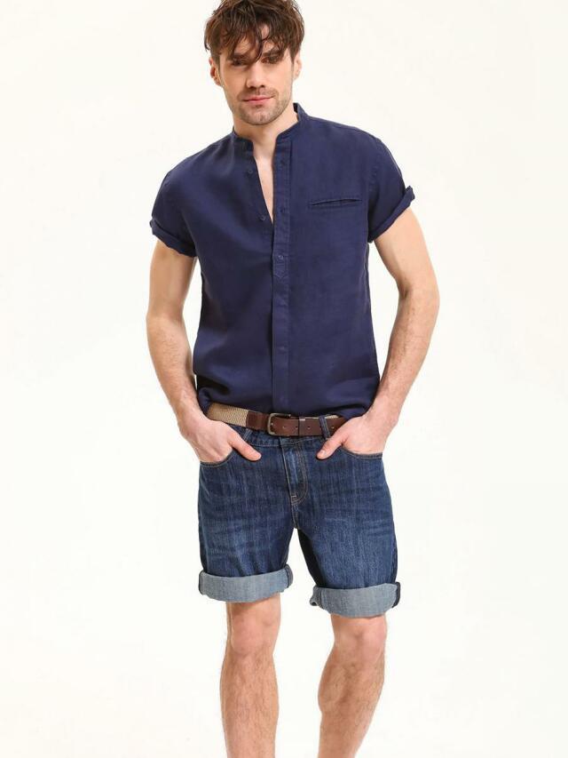 Top Secret Košile pánská tmavě modrá lněná s krátkým rukávem