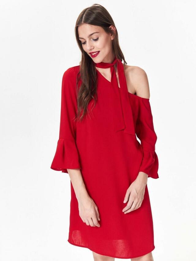 Top Secret Šaty dámské červené s odhaleným ramenem - 36