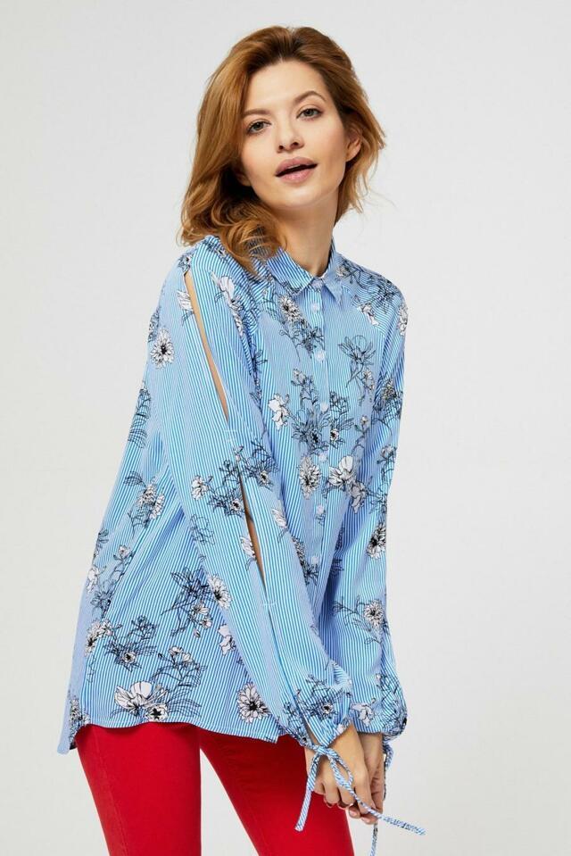 Moodo Košile dámská s dlouhým prostřiženým rukávem - XS