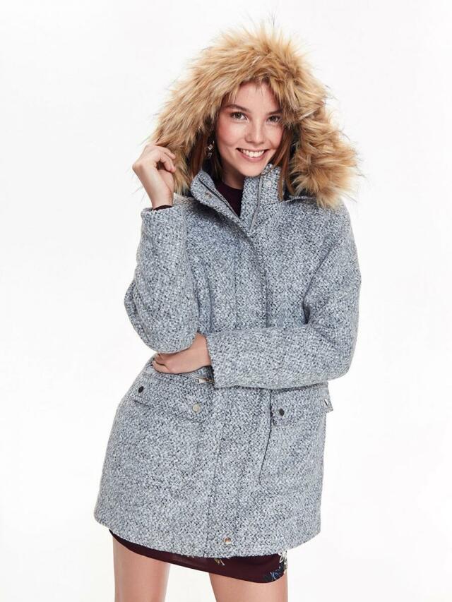 Top Secret Kabát dámský šedý s oddělávací kožíškovou kapucí