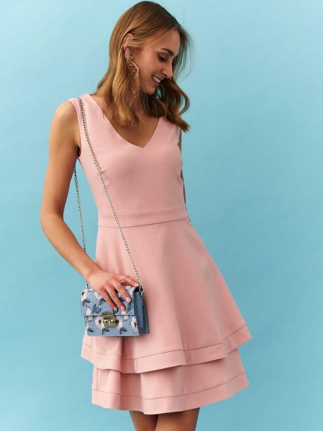 Top Secret Šaty dámské růžové bez rukávu s volánkem - 40