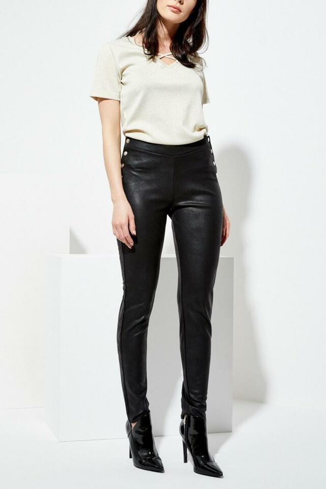 Moodo Kalhoty dámské černé z imitace kůže
