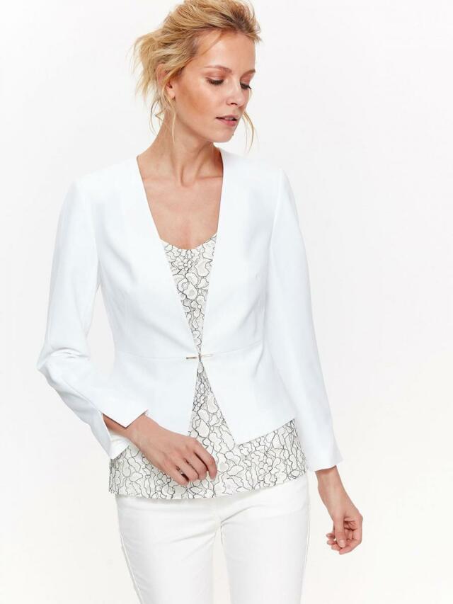 Top Secret Sako dámské bílé elastické s dlouhým rukávem