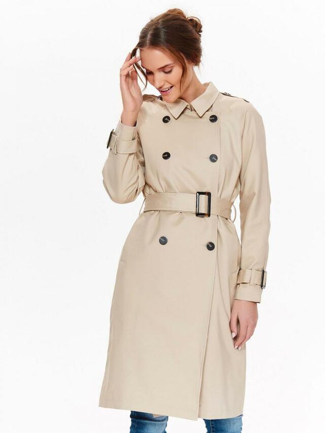 Top Secret Kabát dámský béžový na dvouřadové knoflíky a pásek - 38 7fd1b52b290