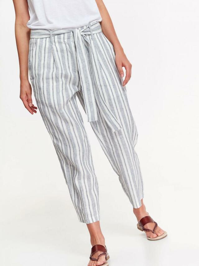 Top Secret Kalhoty dámské lněné s pruhovaným vzorem - 34