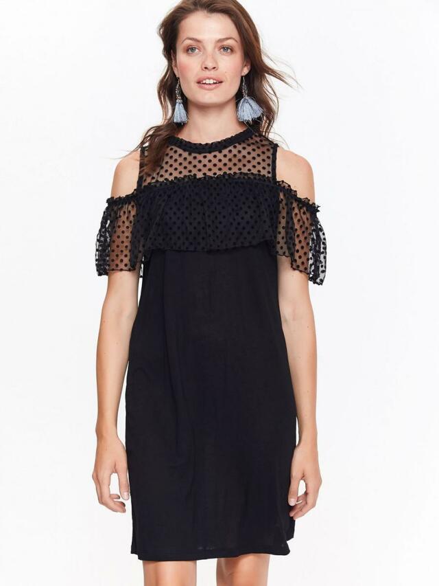 Top Secret šaty dámské černé elegantní s průstřihy na ramenou - 40