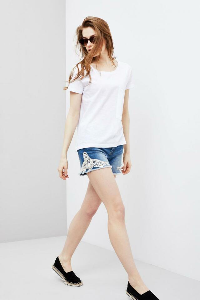 Moodo šortky dámské jeans s bílou krajkou(593055) - 3 d9897f21e6