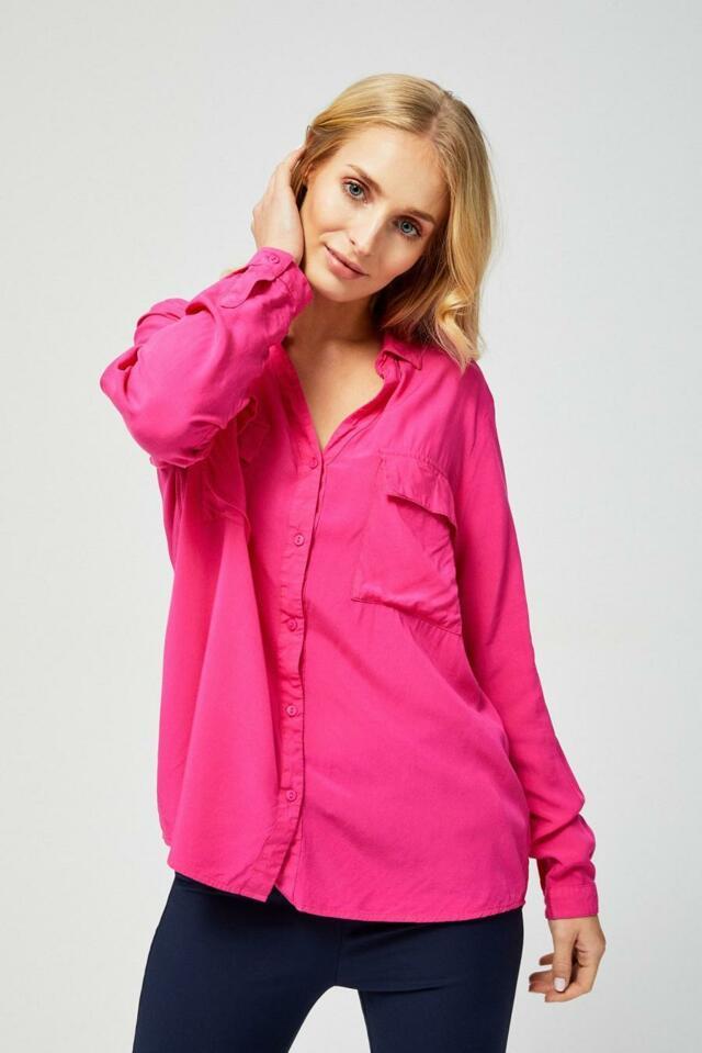 Moodo Košile dámská jednobarevná s dlouhým rukávem - S