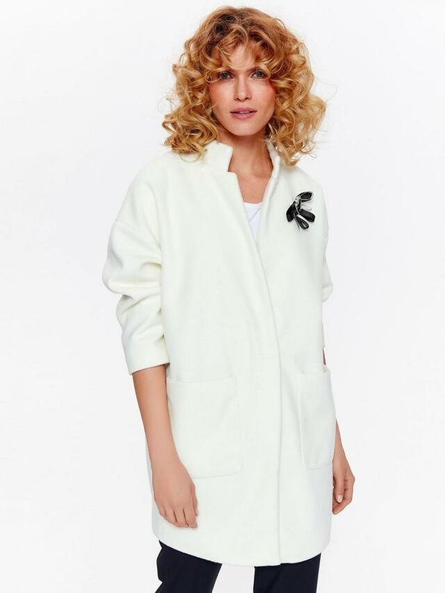 Top Secret Kabát dámský bílý s odepínací ozdobou a 7/8 rukávy - 36