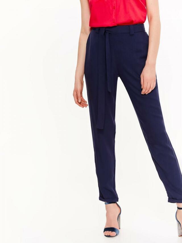 Top Secret Kalhoty dámské společenské tmavě modré s páskem - 34 16a409377d