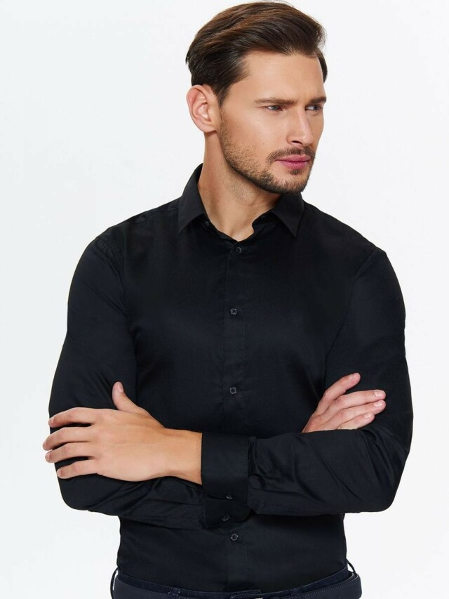 Top Secret Košile pánská černá s dlouhým rukávem
