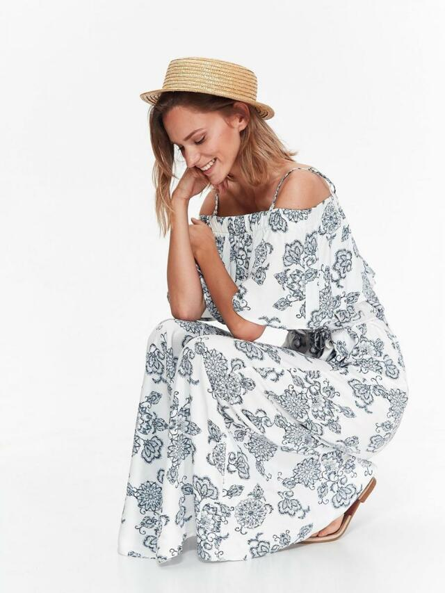 Top Secret šaty dámské dlouhé bílé se vzorem - 38 7ab9b87f97