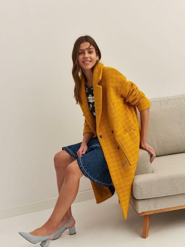Top Secret Kabát dámský žlutý OVERSIZE - 42