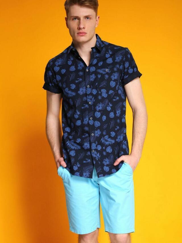 Top Secret Košile pánská modrá s krátkým rukávem