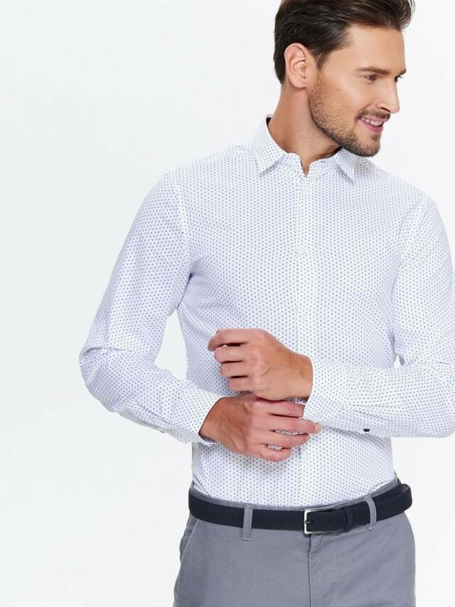 Top Secret Košile pánská bílá s puntíky a dlouhým rukávem