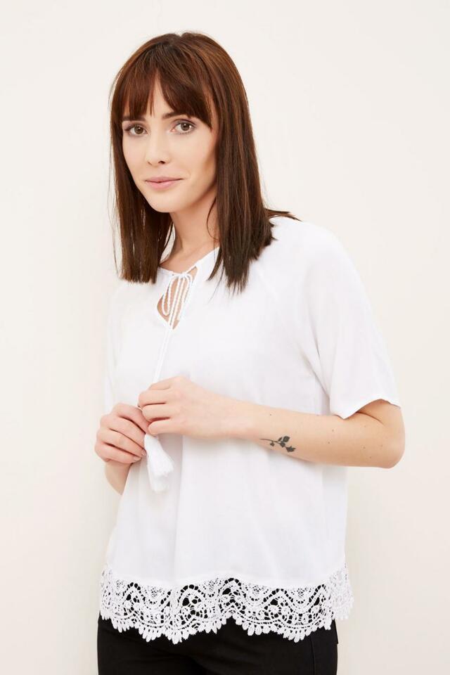 Moodo Košile dámská s krajkou krátký rukáv