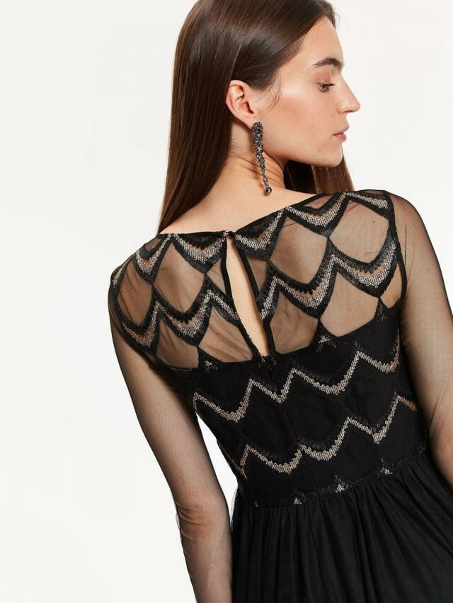 Top Secret Šaty dámské zdobené s dlouhým průstvitným rukávem - 40