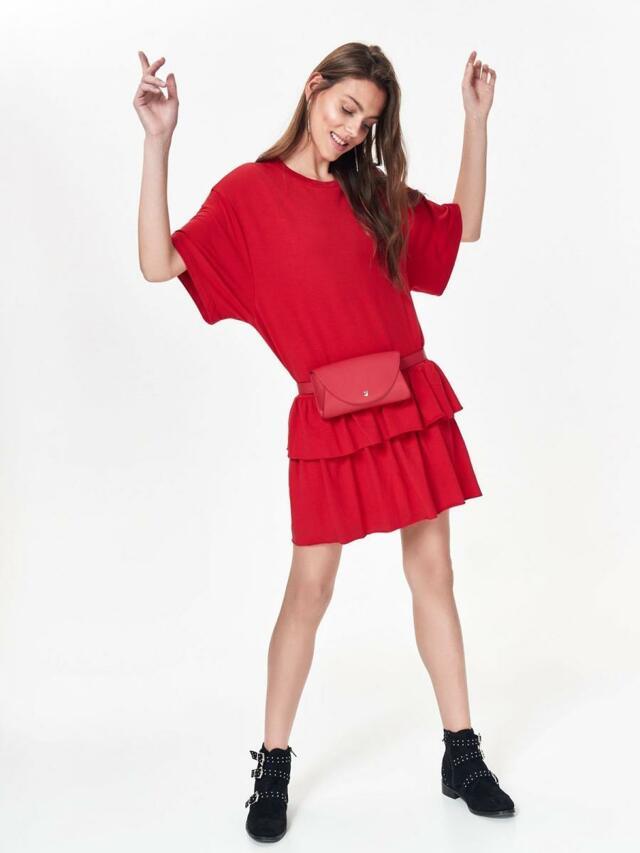 Top Secret Šaty dámské červené s volánkem - 46