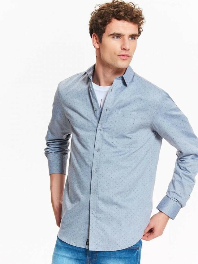 Top Secret Košile pánská šedá se vzorem a dlouhým rukávem