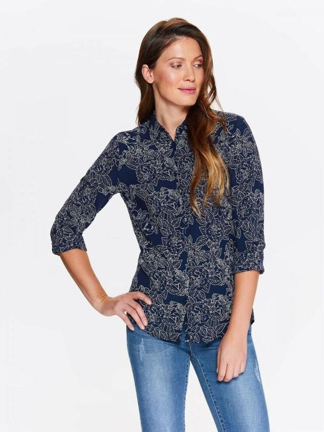 Top Secret Košile dámská tmavě modrá s potiskem a dlouhým rukávem