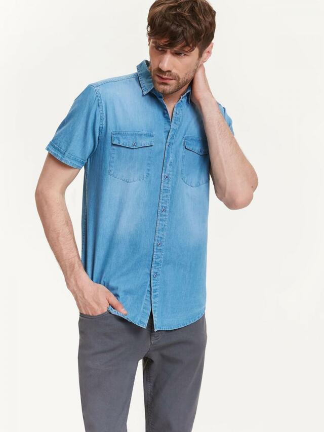 Top Secret Košile pánská jeans s krátkým rukávem