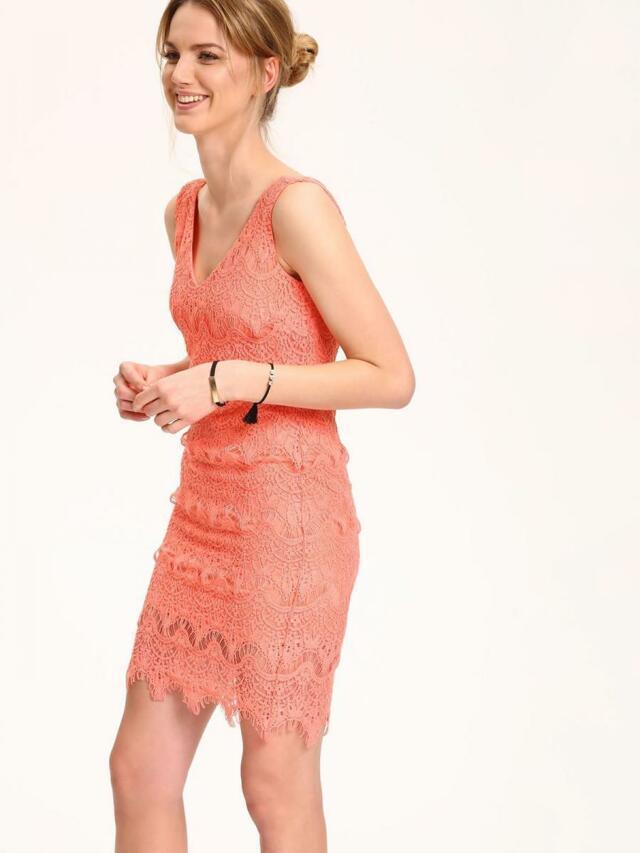 Top Secret šaty dámské růžové krajkové bez rukávu - 34