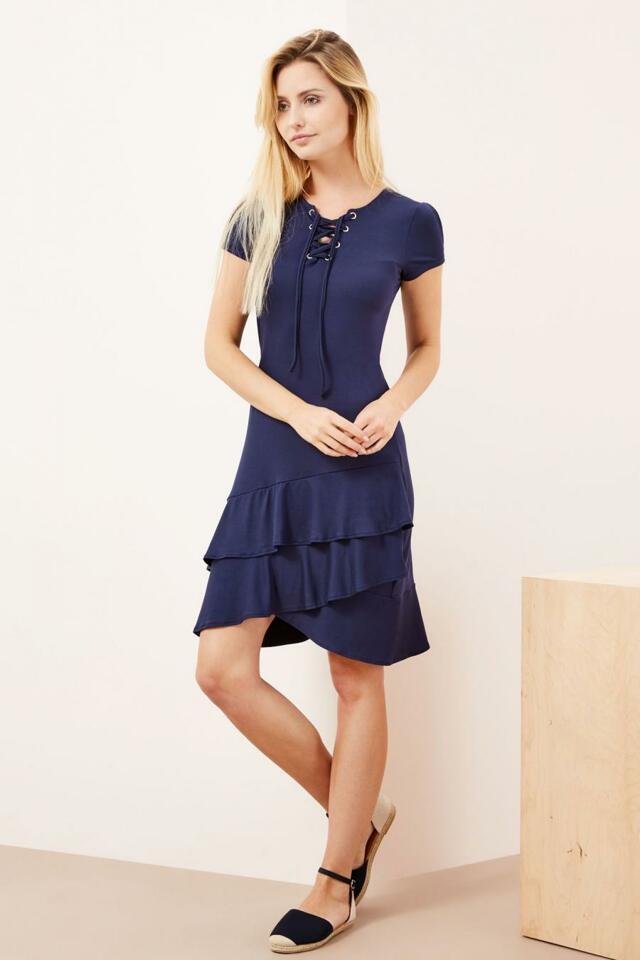 Moodo šaty dámské s kanýry, šněrováním a krátkým rukávem