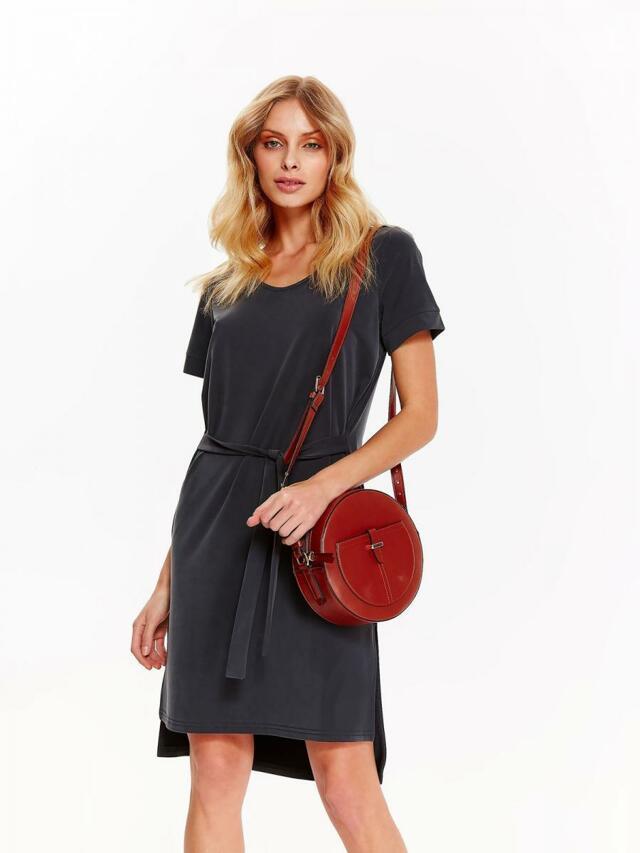 Top Secret šaty dámské tmavě šedé s páskem a krátkým rukávem - 40