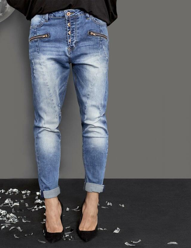 Diverse Jeansy dámské DOKO s nízkým sedem na knoflíky - 34 1ea04c5a1f