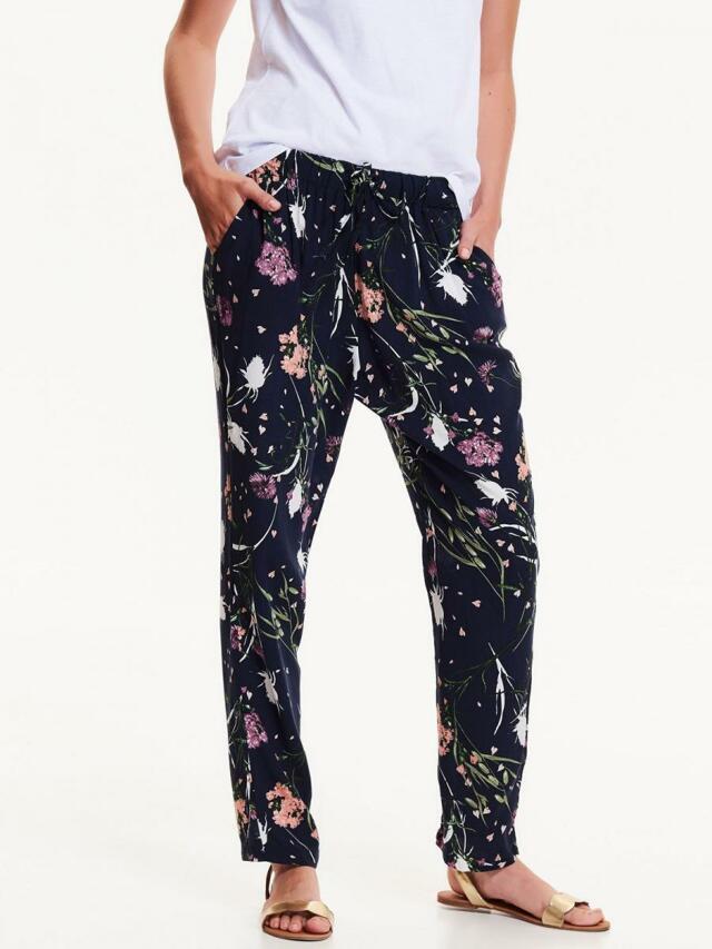 Top Secret Kalhoty dámské květované na gumu z viskózy - XS