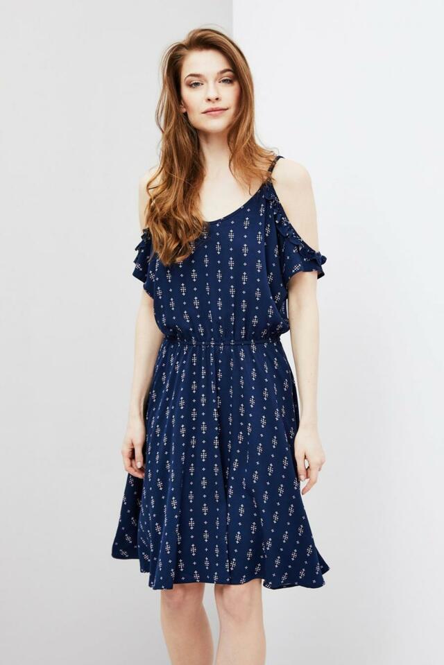 Moodo šaty dámské vzorované s průstřihy rameny - M d7a5aa2654c