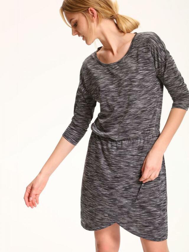 Top Secret šaty dámské žíhované s 3/4 rukávem a gumou v pase - S