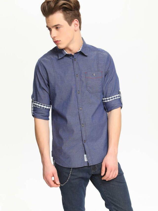 Top Secret Košile pánská jeans dlouhý rukáv - 38/39