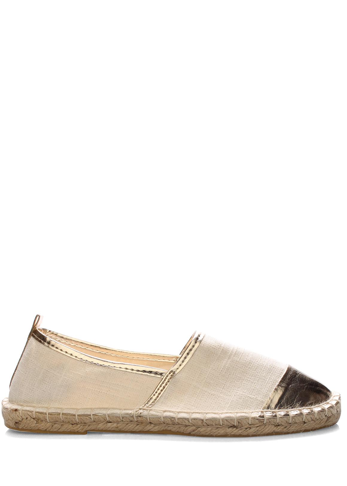 def4c174e8b ➤ Bílé espadrilky se zlatou špičkou Monshoe - Levná i značková obuv