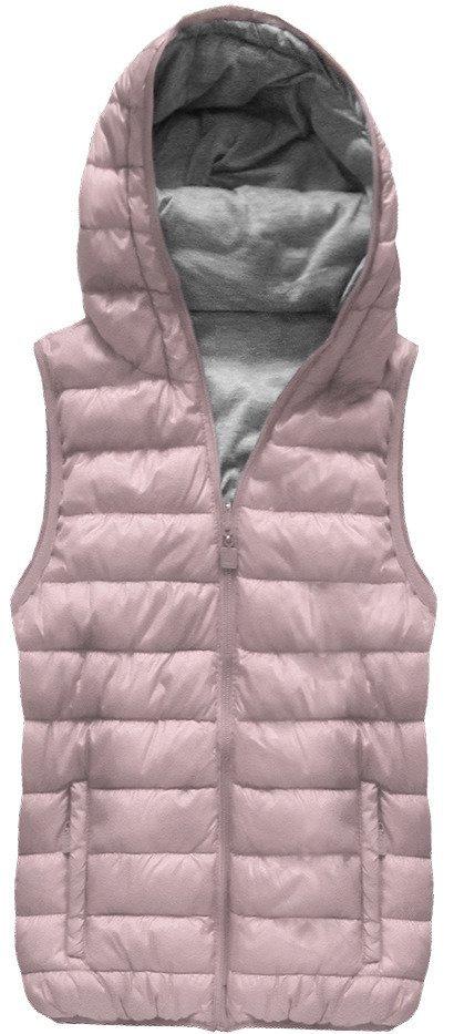 8da7ae3f8f Oboustranná vesta ve starorůžové barvě s kapucí (B1002) +