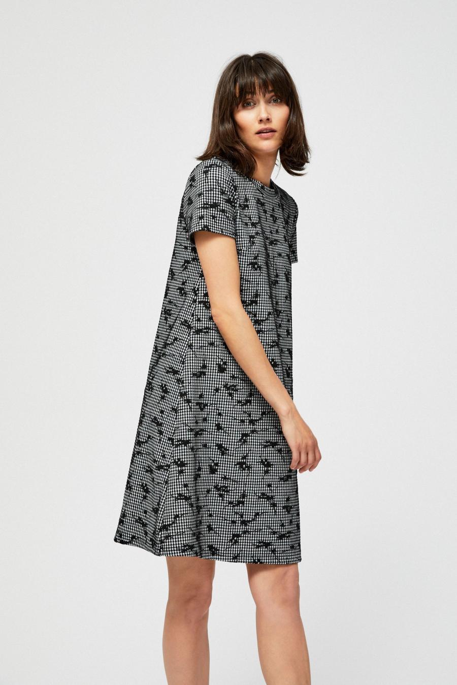bbf54be7afb Moodo šaty dámské se vzorem kostky a krátkým rukávem
