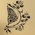 Samolepka na zeď Květiny s motýly 004 (146288) - 1