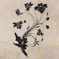 Samolepka na zeď Květiny s motýly 013 (146296) - 1