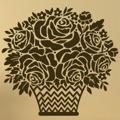 Samolepka na zeď Košík s růžemi 001 (146204) - 1