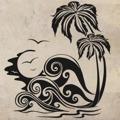 Samolepka na zeď Palmy 006 (146454) - 1