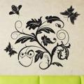 Samolepka na zeď Květiny s motýly 011 (146294) - 1