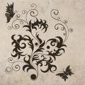 Samolepka na zeď Květiny s motýly 012 (146295) - 1