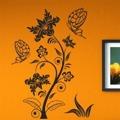 Samolepka na zeď Květiny s motýly 016 (146299) - 1