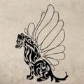 Samolepka na zeď Kočka s křídly 001 (146198) - 1